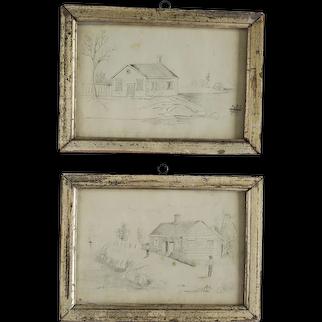 Pr. Antique Folk Art Pencil Drawings of Homestead Rural Life in Gilt Frames