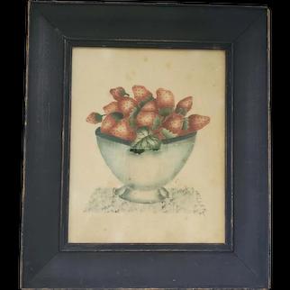 """Vintage Signed """"Miller"""" Folk Art Bowl of Strawberries Theorem Painting on Velvet"""