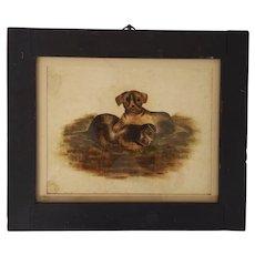 Rare Antique Mid 19th C. Folk Art Theorem Painting on Velvet of 2 Playful Puppies