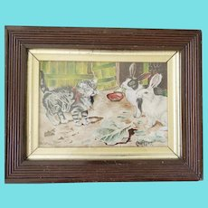 Diminutive English Antique 1897 Signed Folk Art Watercolor of Kitten & 2 Rabbits