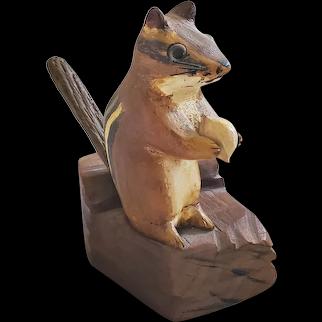 Vintage Signed AK  Dec. '78 Folk art Painted Carving of Chipmunk Holding Nut