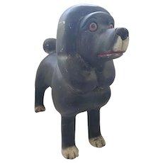 Large Naive Vintage Folk Art Black Poodle Carving