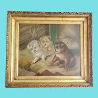 Antique Signed Millou '91 Folk Art Oil Painting of 4 Puppies & Rat