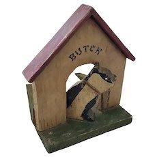 """Vintage 1930's-40's Naive Folk Art Bulldog """"Butch"""" in Doghouse Doorstop"""