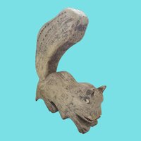 Funky Vintage Folk Art Painted Gray Squirrel Carving