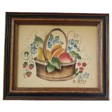 """Diminutive Vintage """"R. Ross"""" Basket of Fruit & Flowers Theorem"""