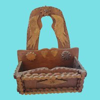 Fabulous Vintage Folk Tramp Art Wall Box w/Birds, Hearts from my Collection