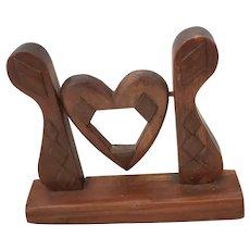 Diminutive Vintage Folk Art Carved Walnut Heart Form Swivel Frame