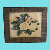 Diminutive 19th C. Folk Art Floral Theorem Painting in Faux Painted Frame