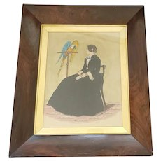 Antique Signed 1852 English Folk Portrait of Young Woman & Parrot/Macaw
