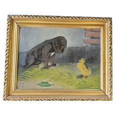 Vintage Folk Art Painting of Puppy & Baby Chick from my Collection