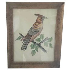 Vintage Folk Art Painting on Fabric of Crested Bird in Tree