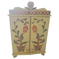 Whimsical Vintage Folk Art Painted Distelfink & Tulip Motif Tabletop Cabinet