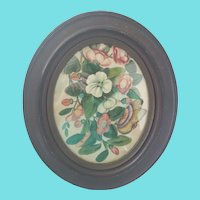 Charming 19th C. Folk Art Watercolor on Silk of Flowers & Butterfly