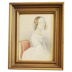 Antique 19th C. Folk Portrait of Young Woman #1 (White Dress)