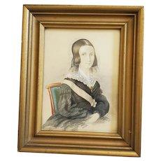 Antique 19th C. Folk Portrait of Young Woman #2 (Black Dress & Sash)