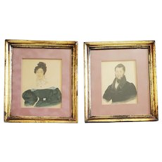 Pr. Antique 19th C. Portraits of John Cox, Squire of Wilford, and His Sister
