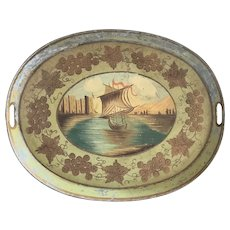 Vintage Folk Art Tole Painted Tray w/Sailing Ship Design & Grapevine Border