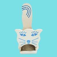 Vintage Folk Art Cat Match Holder #1 (White & Blue)