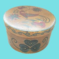 Vintage Folk Art Painted Pantry Box w/Distelfink & Flowers Design