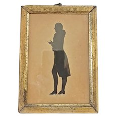 Antique Late 18th Early 19th C. Full Body Silhouette of Gentleman in Lemon Gilt Frame