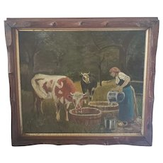 Antique Early 1900's Folk Art Oil  Painting of Cows & Milkmaid