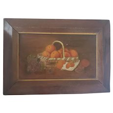 Antique Late 19th C. Folk Art Still Life Oil Painting of Basket of Oranges w/Geraniums