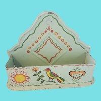 Vintage PA. Folk Art Painted Tin Wall Box