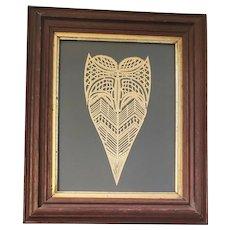 Beautiful Antique 19th C. PA. Folk Art Framed Stylized Heart Scherenschnitte