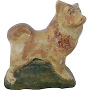Early 1900's Primitive Folk Art Ohio Redware Pottery Akita Dog From My Collection