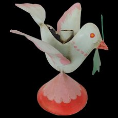 Vintage Mexican Folk Art Painted Tin Bird Candle Holder