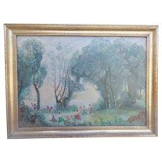 "Vintage Folk Art Oil Painting of Bacchus & Romans Signed ""Wright"""