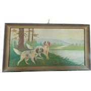 "Early 1900's Folk Art Painting - Hunting Dogs Signed ""Roger P."" From My Collection"