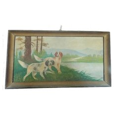 "Early 1900's Folk Art Painting - Hunting Dogs Signed ""Rogers"" From My Collection"