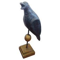 Life Size Folk Art Crow Decoy Carving on Decorative Stand