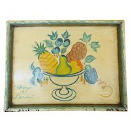 Vintage Dated 1947 Folk Art Painted Tray With Fruit Compote Design