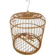 Pair of Vintage Folk Art Painted Birds in Bamboo Birdcage