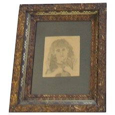 19th C. Folk Art Pencil Drawing of Young Girl Holding Dog & Cat