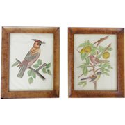 Pair of Vintage Folk Art Framed Bird Paintings on Fabric