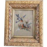 Early 1900's Bluebird Berlin Work Embroidery in Fancy Antique Frame