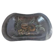 Vintage Folk Art Tole Painted Bread Tray With Fruit Motif