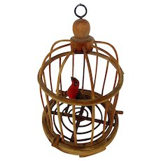 Vintage Folk Art Painted Bird in Cage With Heart Shaped Wings From My Collection