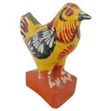 Vintage Primitive American Folk Art Papier Mache Fancifully Painted Rooster From My Collection