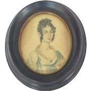 "Diminutive Early 19th C. Folk Art Watercolor Portrait of Young Woman Signed ""Trumbell"""