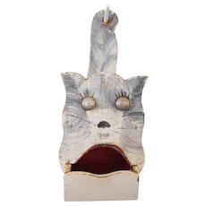 Another Vintage Primitive Folk Art Gray Cat Wall Box Match Holder