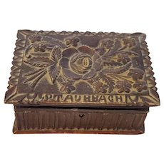 Small Antique Folk Art Black Forest Carved Box With Flowers & Name