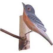 Vintage Folk Art Wall Hung Bird Carving Sitting on Birch Branch