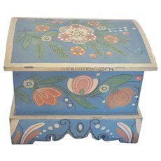 "Vintage German Folk Art Miniature Tole Painted Chest Signed ""BERCHTESGADEN"""