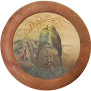 Early 1900's Folk Art Painting of a Pair of Lovebirds, Parakeets, or Budgies