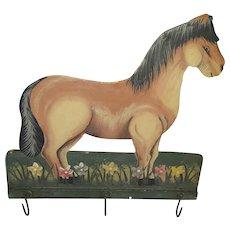 Vintage Folk Art Horse in Flowers 3-Hook Hanging Rack